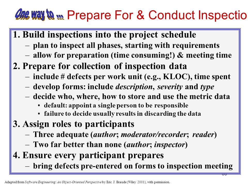 Prepare For & Conduct Inspections