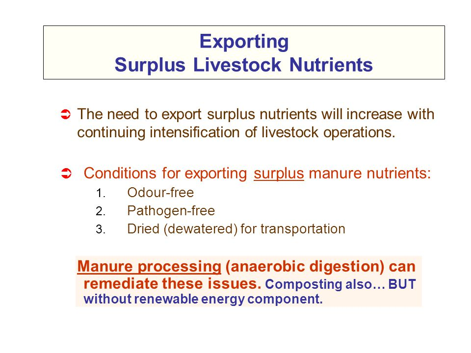 Exporting Surplus Livestock Nutrients