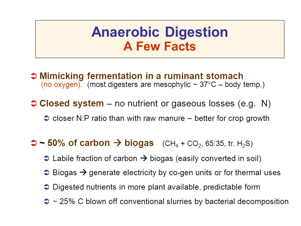 Anaerobic Digestion A Few Facts