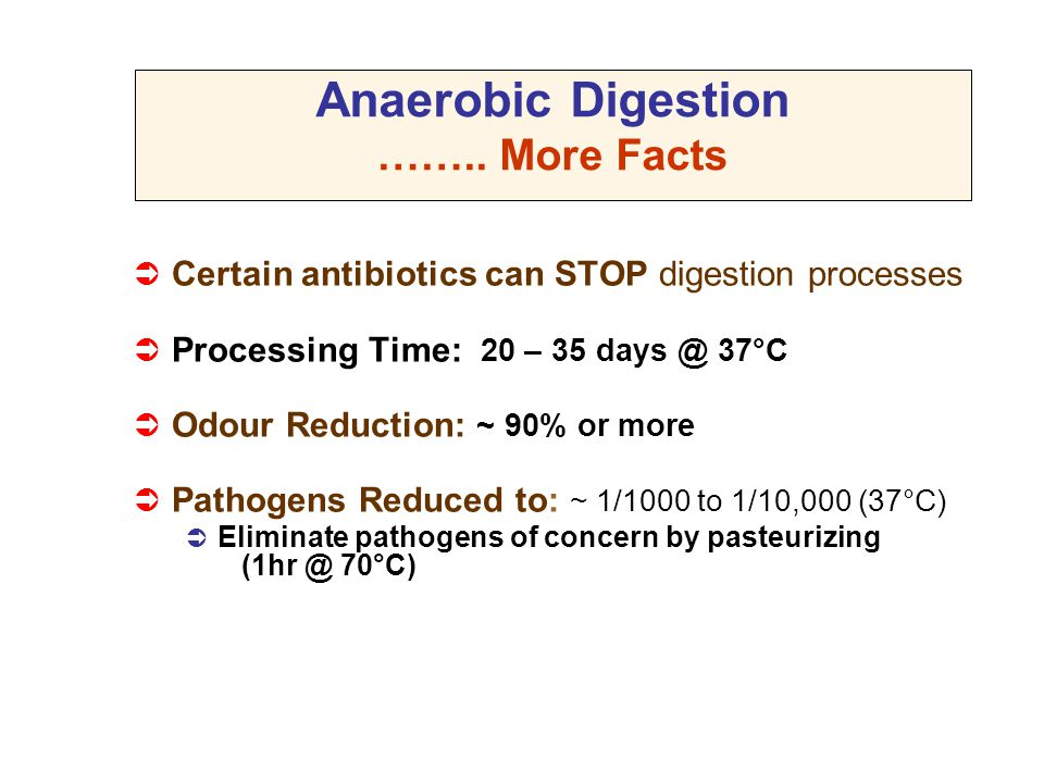 Anaerobic Digestion …….. More Facts