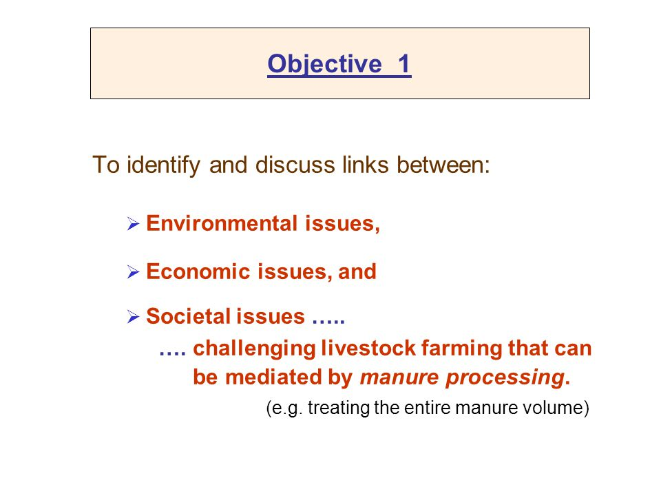 Objective 1 To identify and discuss links between: