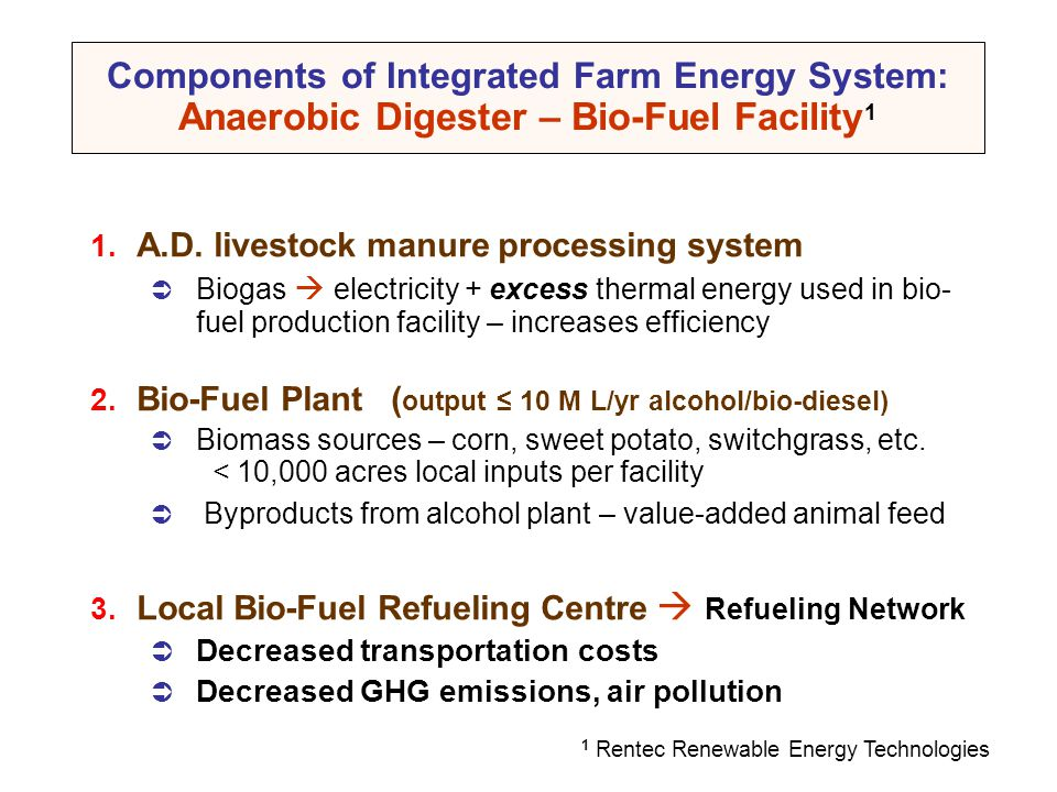 Components of Integrated Farm Energy System: Anaerobic Digester – Bio-Fuel Facility1