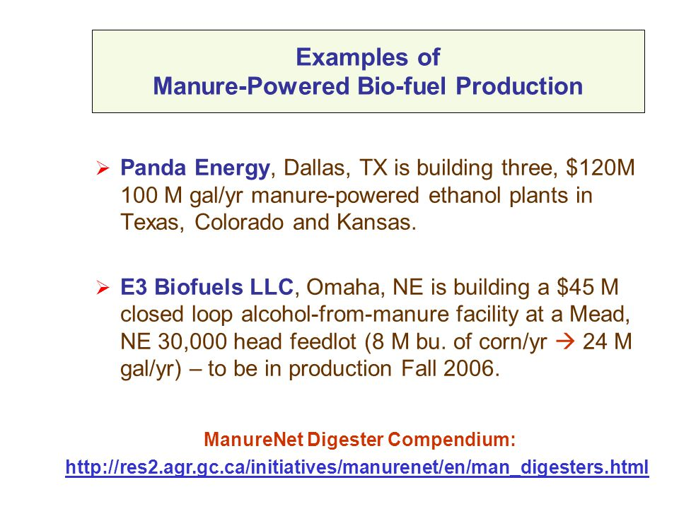 Examples of Manure-Powered Bio-fuel Production