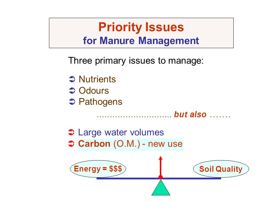 Priority Issues for Manure Management