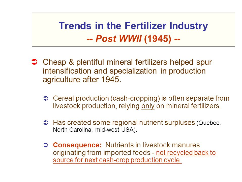 Trends in the Fertilizer Industry -- Post WWII (1945) --