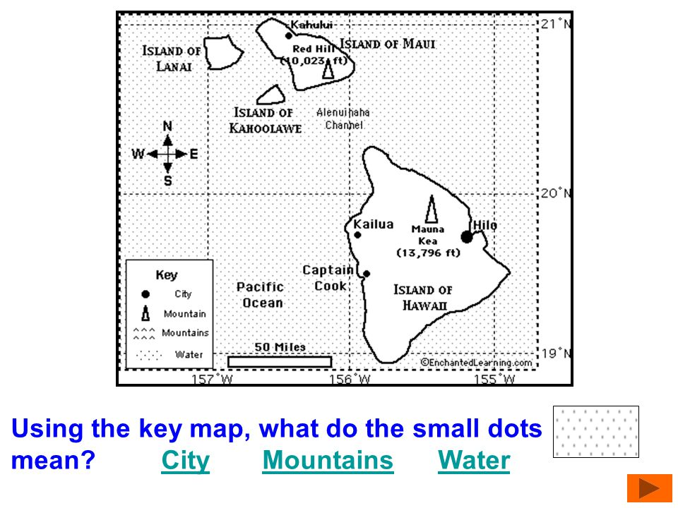 Using the key map, what do the small dots mean City Mountains Water