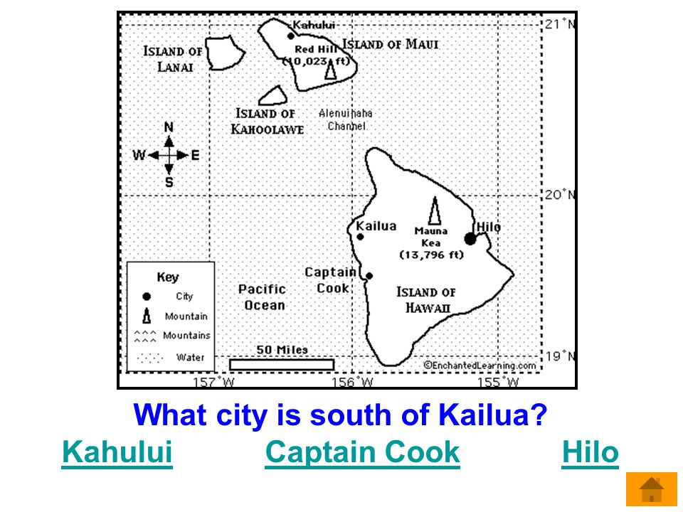 What city is south of Kailua Kahului Captain Cook Hilo