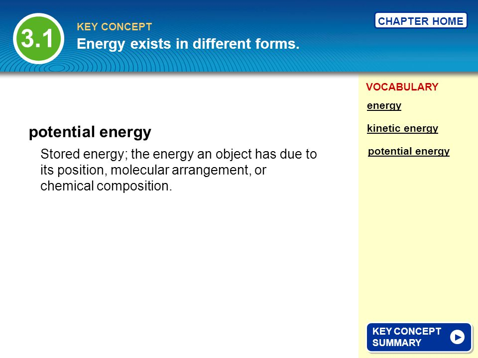 3.1 potential energy Energy exists in different forms.