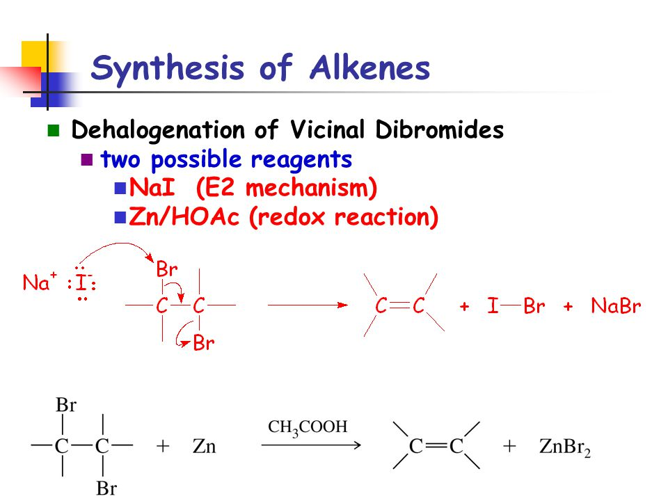 Synthesis of Alkenes Dehalogenation of Vicinal Dibromides