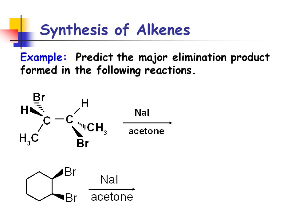 synthesis of alkenes In the last post on alkenes we covered the reactions of alkyl halides and it made out tiny little reaction map explode into a cascade here we're really going to blow up our reaction map, because we're going to talk.