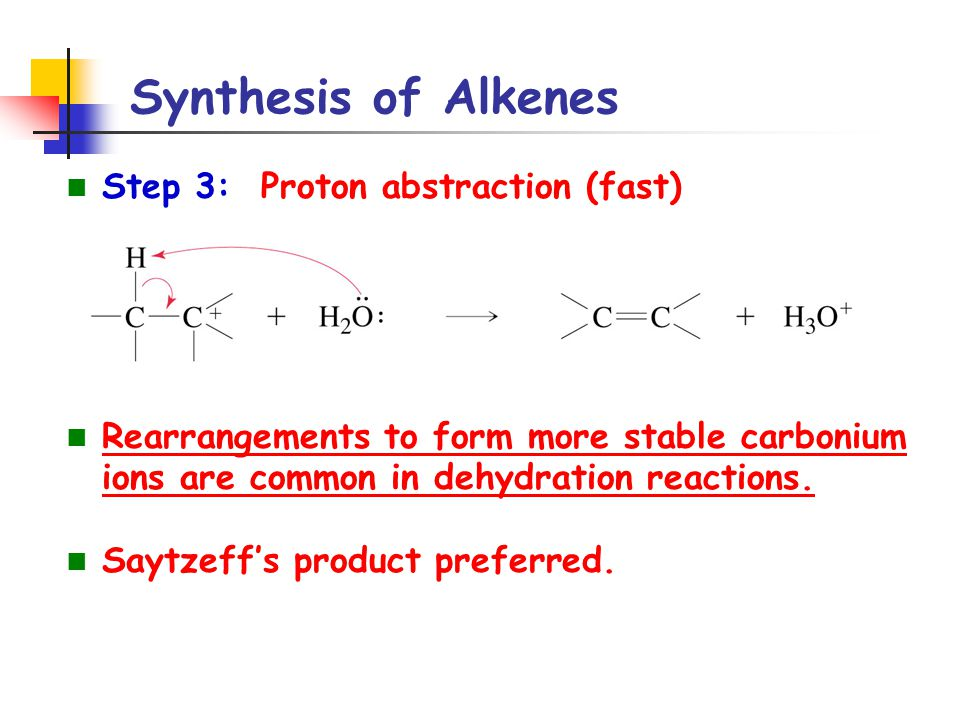 Synthesis of Alkenes Step 3: Proton abstraction (fast)