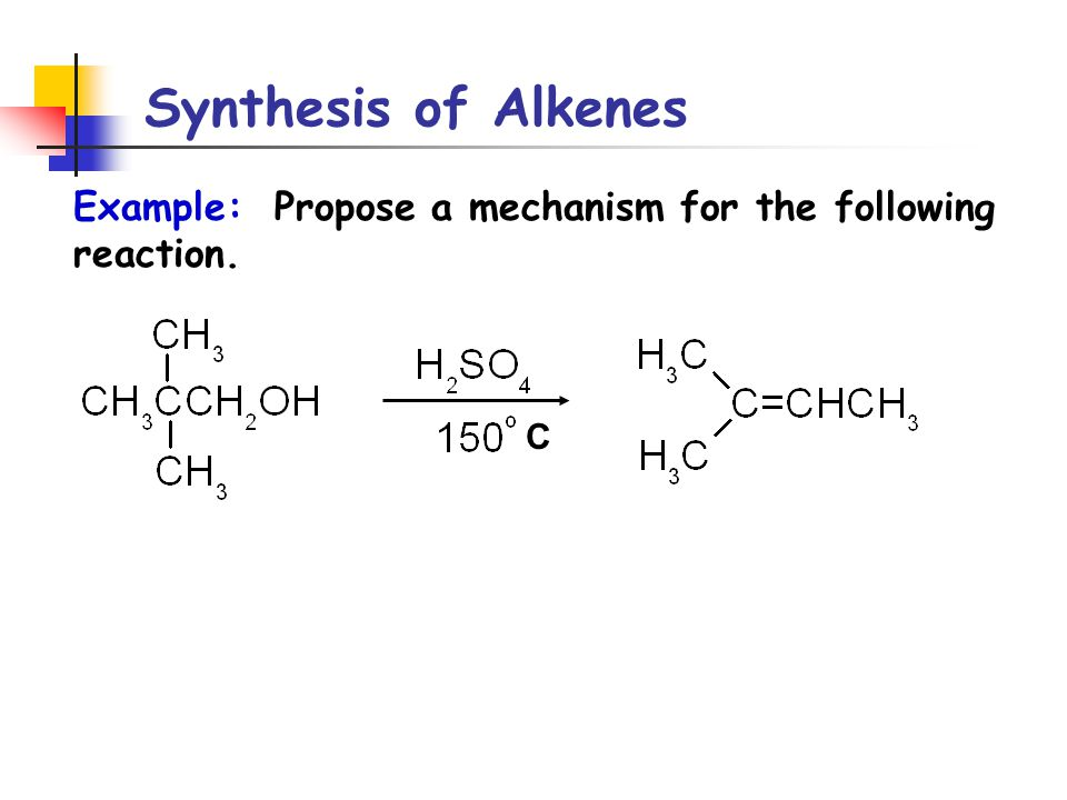 Synthesis of Alkenes Example: Propose a mechanism for the following reaction. C