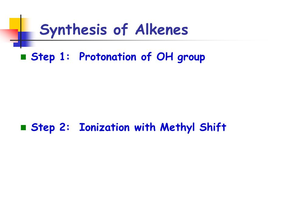 Synthesis of Alkenes Step 1: Protonation of OH group