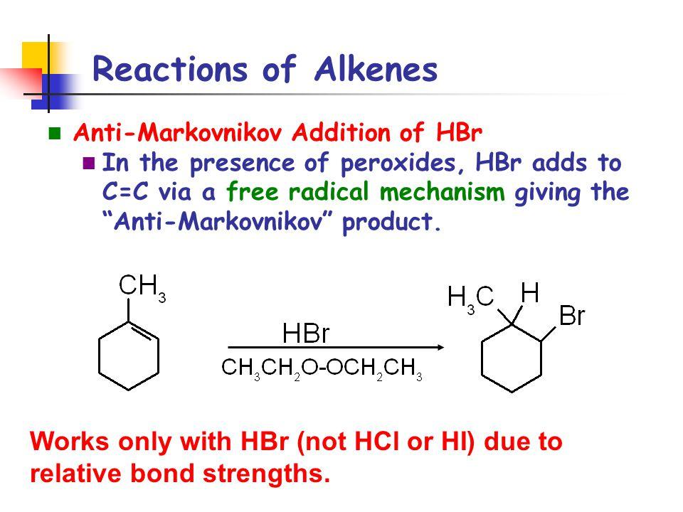 Reactions of Alkenes Anti-Markovnikov Addition of HBr.