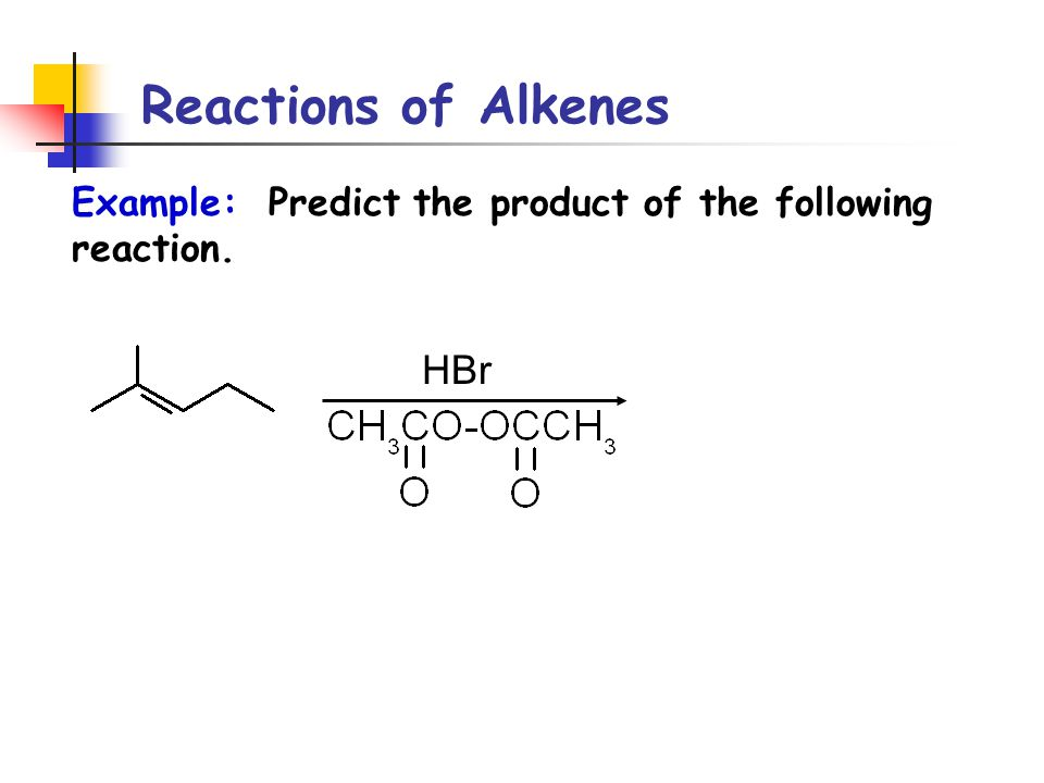 Reactions of Alkenes HBr