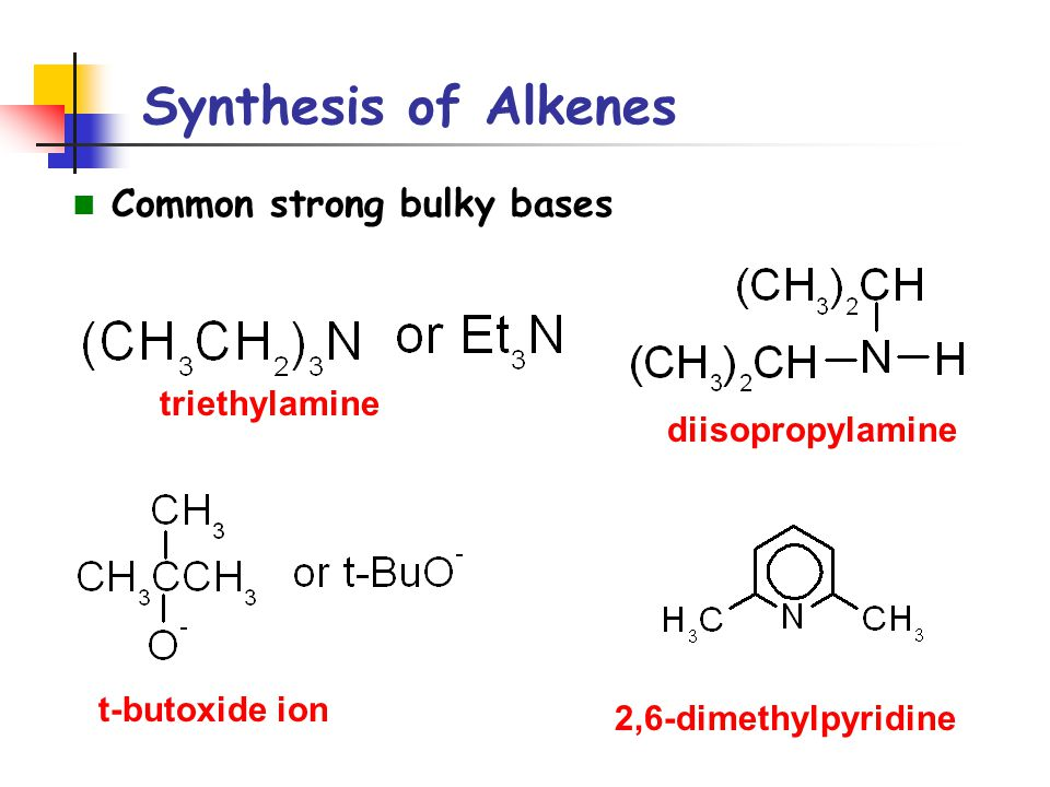 Synthesis of Alkenes Common strong bulky bases triethylamine
