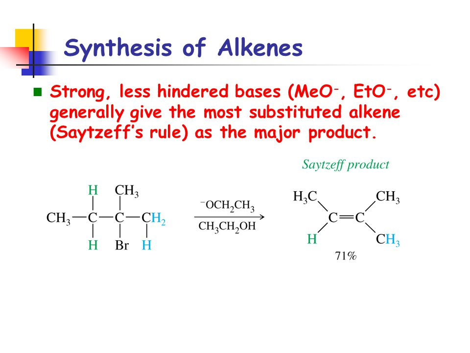 Synthesis of Alkenes Strong, less hindered bases (MeO-, EtO-, etc) generally give the most substituted alkene (Saytzeff's rule) as the major product.