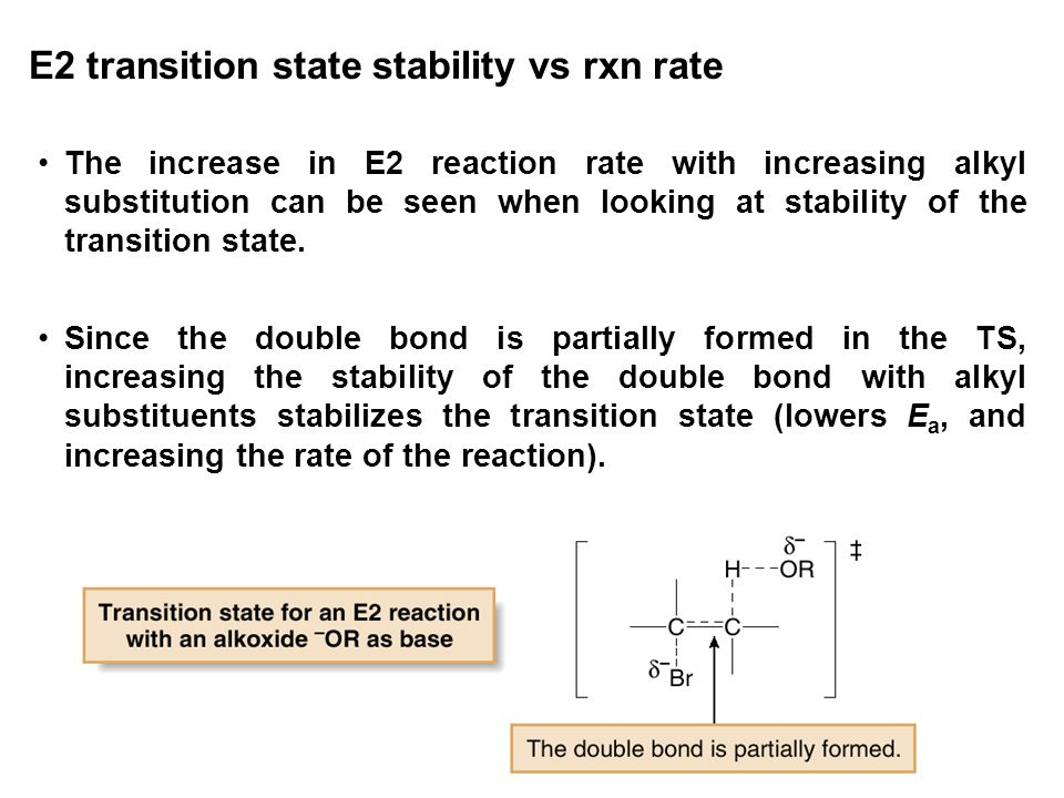 E2 transition state stability vs rxn rate