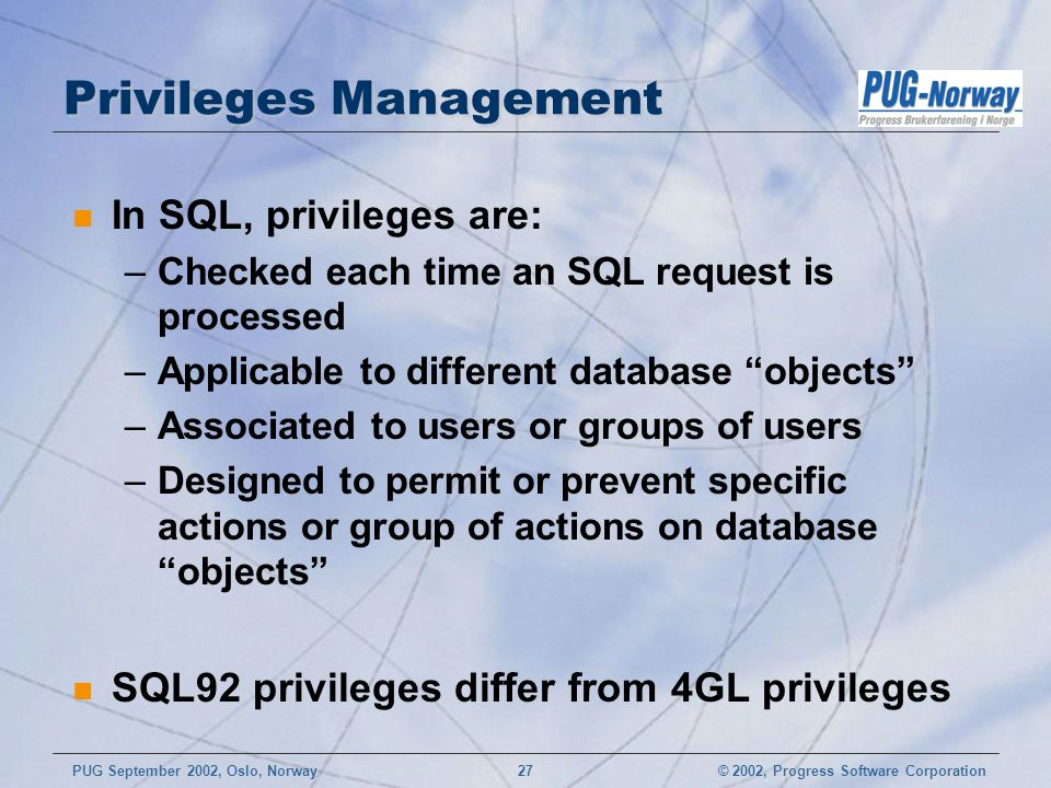 Privileges Management