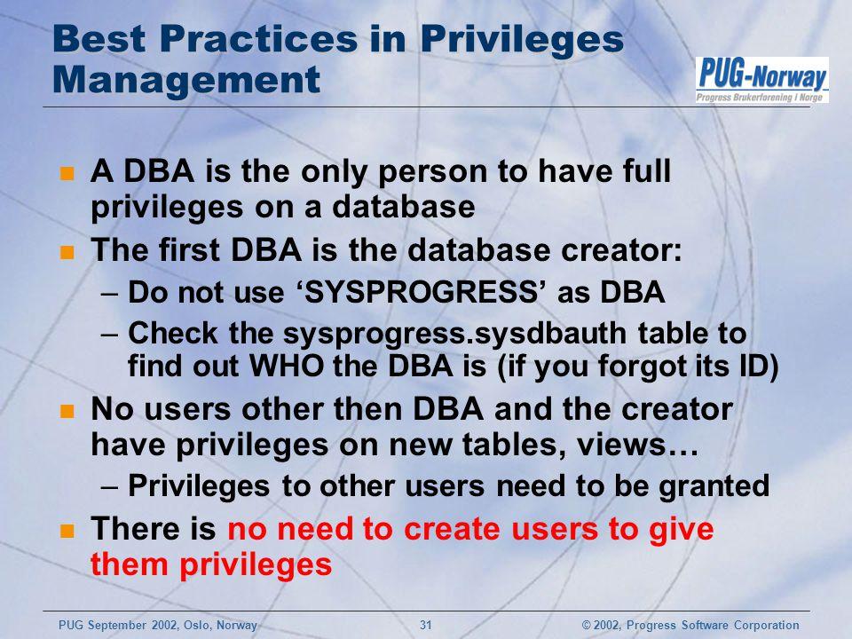 Best Practices in Privileges Management