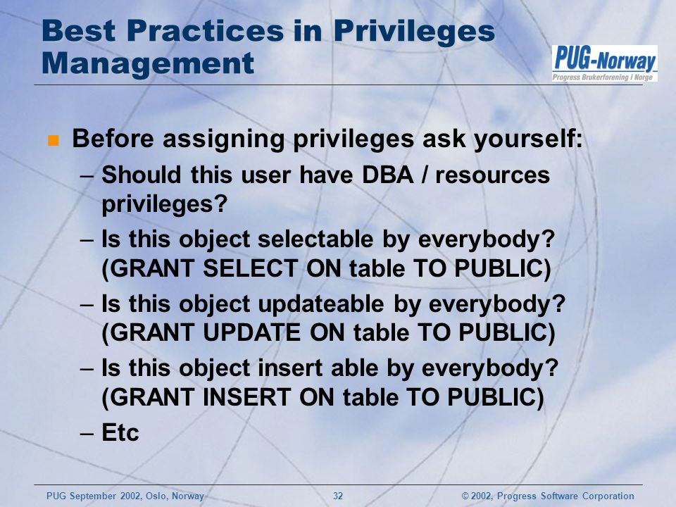 Best Practices in Privileges Management