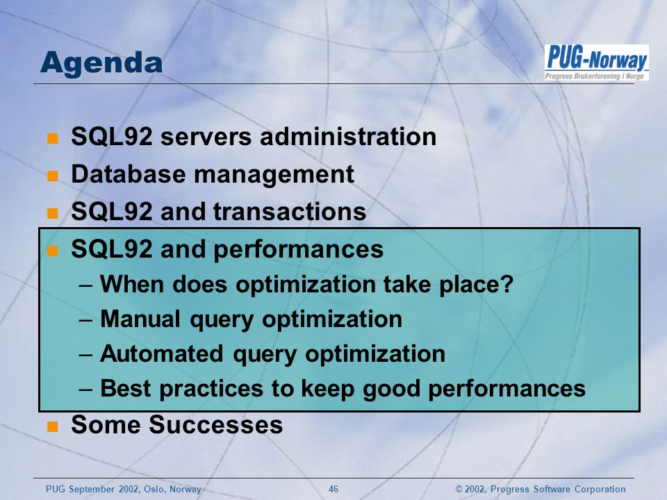 Agenda SQL92 servers administration Database management