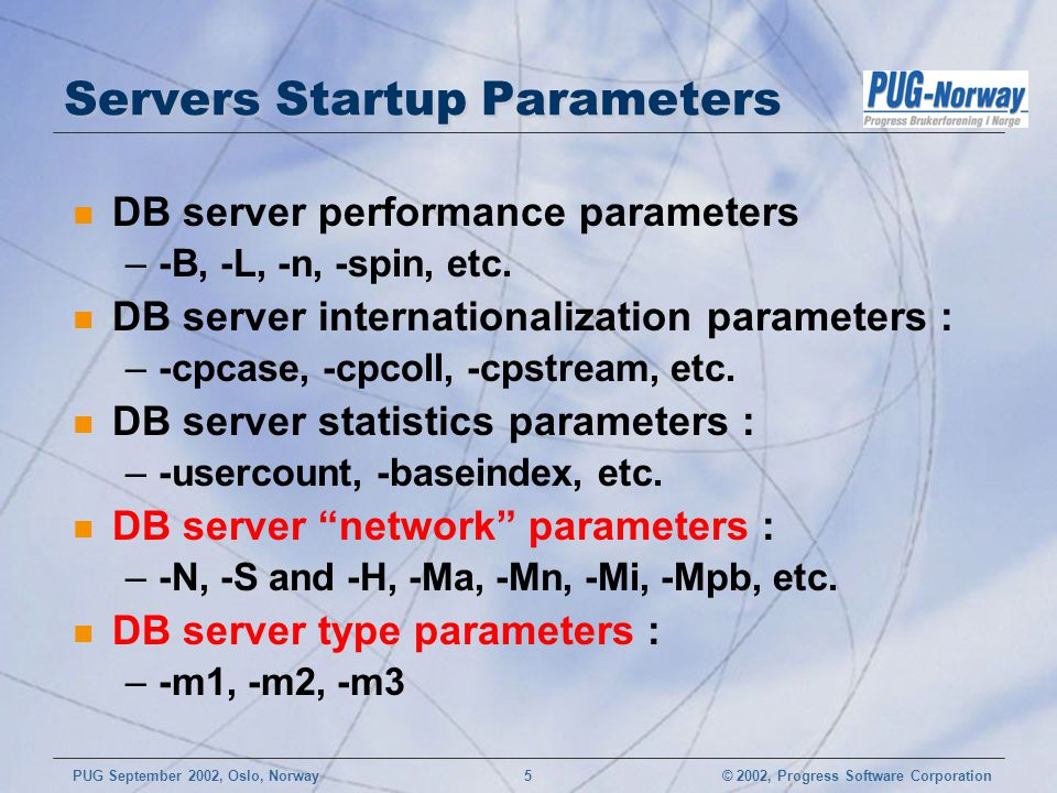 Servers Startup Parameters