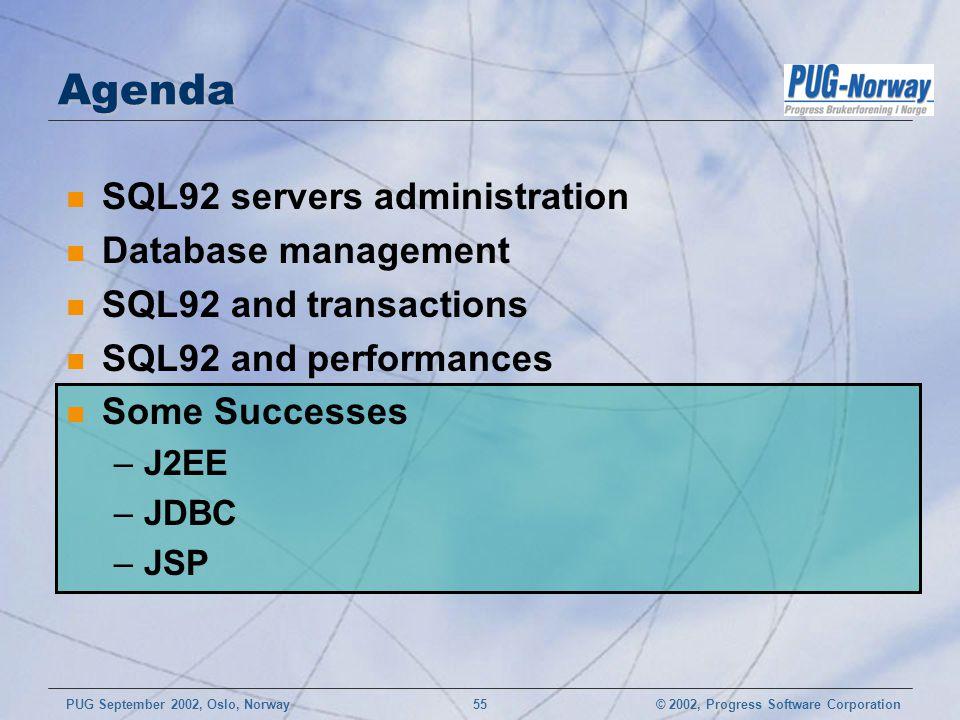 Agenda SQL92 servers administration Database management