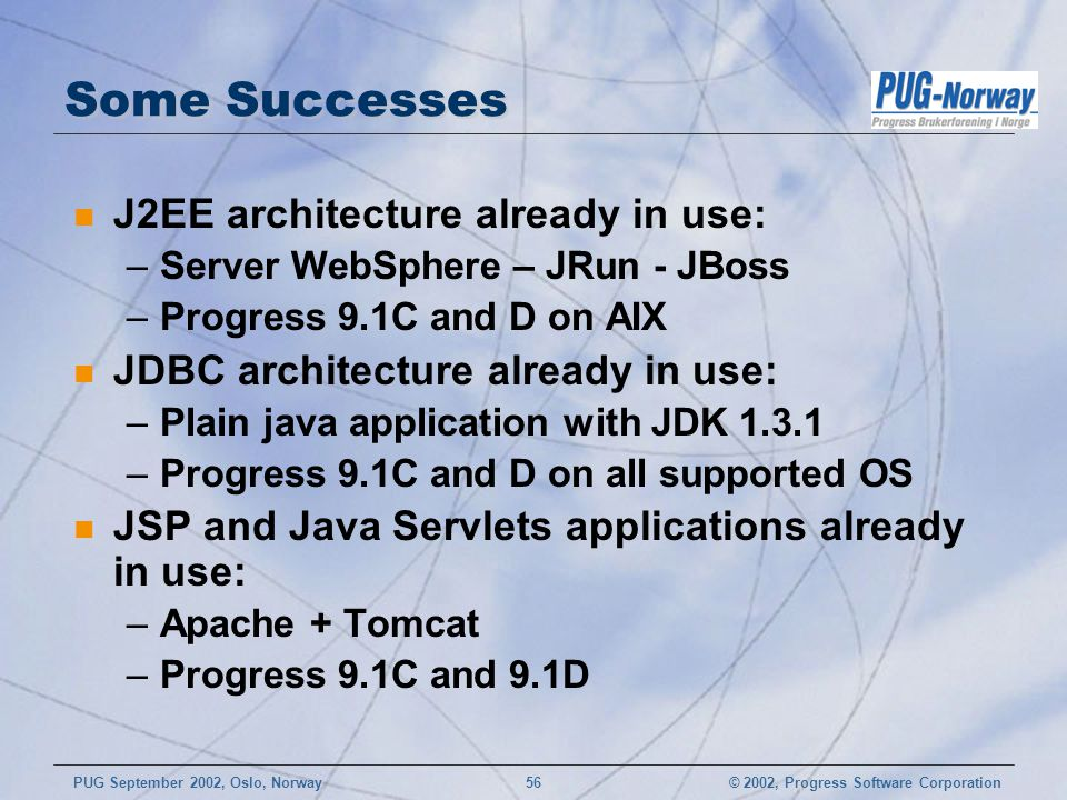 Some Successes J2EE architecture already in use: