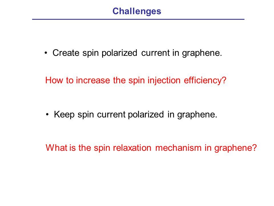 Challenges Create spin polarized current in graphene. How to increase the spin injection efficiency