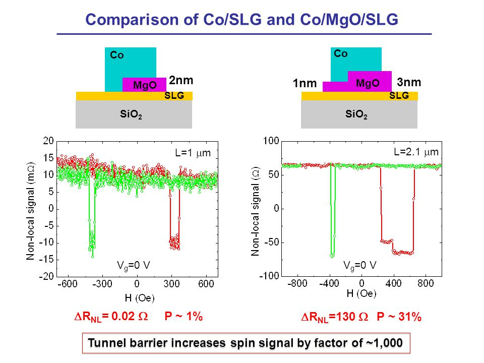 Comparison of Co/SLG and Co/MgO/SLG