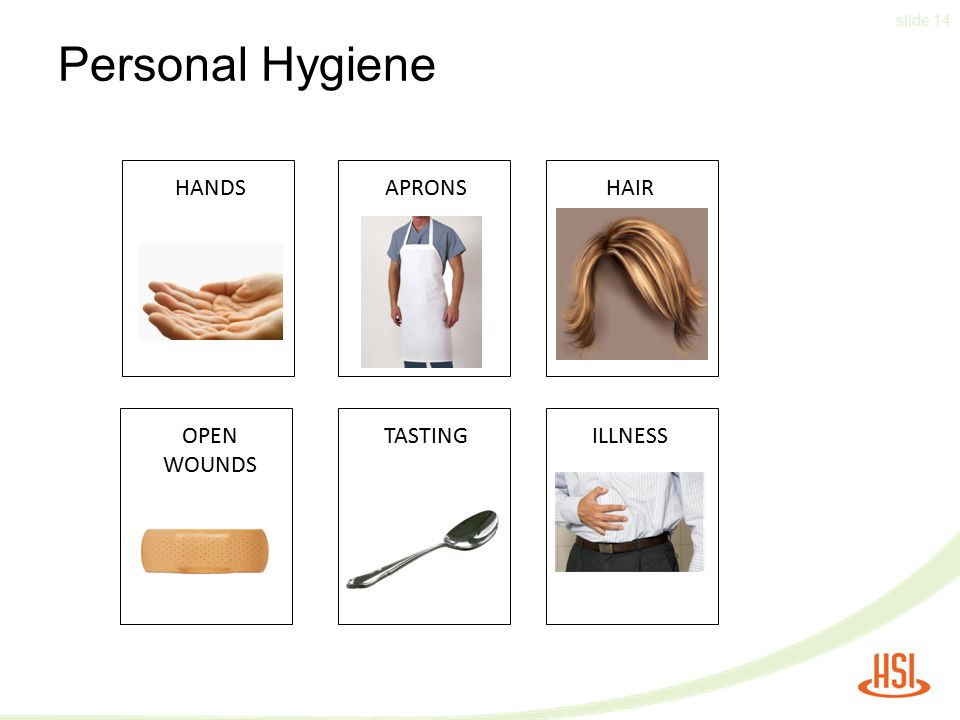 Personal Hygiene HANDS APRONS HAIR OPEN WOUNDS TASTING ILLNESS