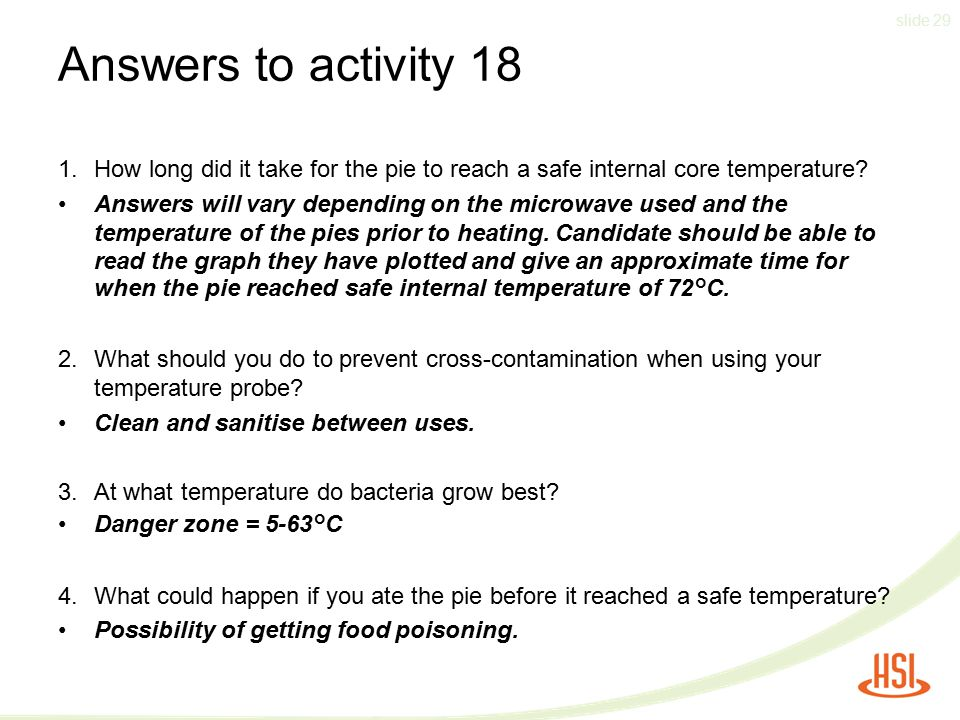 Answers to activity 18 How long did it take for the pie to reach a safe internal core temperature