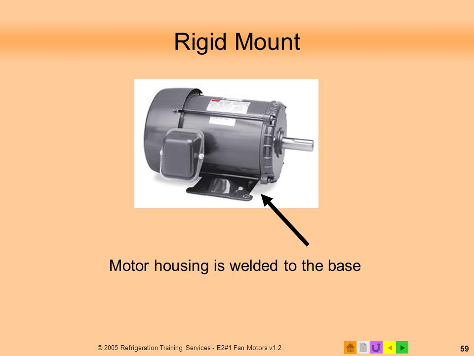Rigid Mount Motor housing is welded to the base