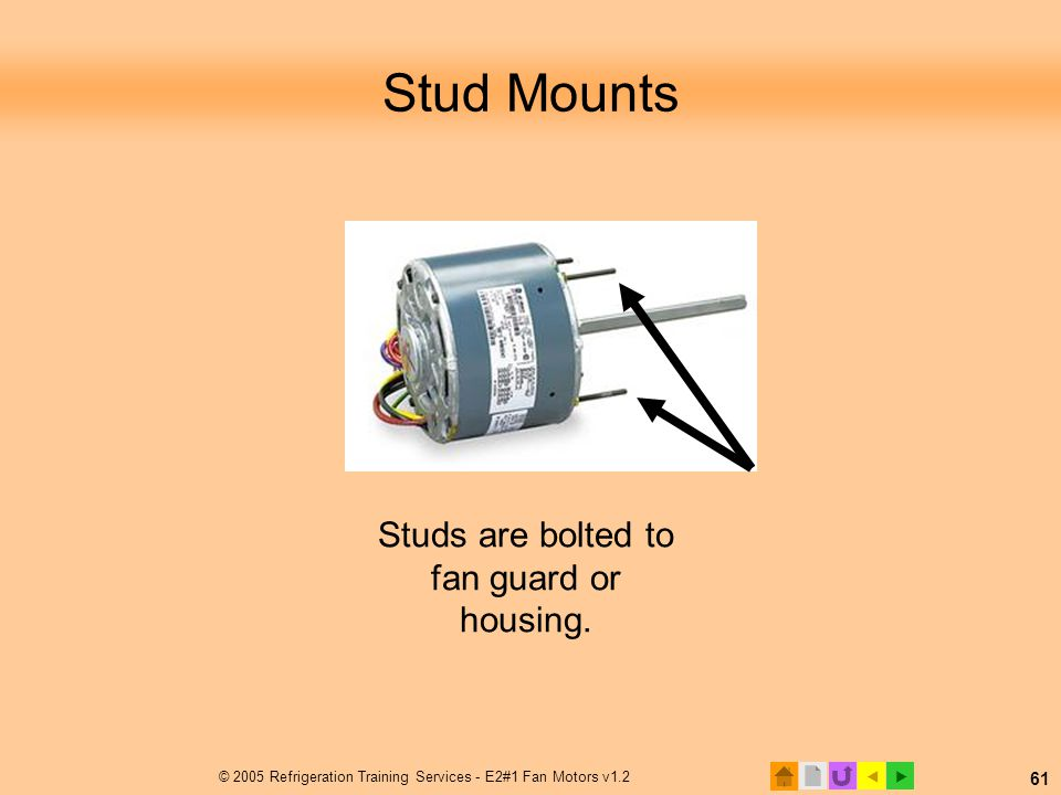 Stud Mounts Studs are bolted to fan guard or housing.