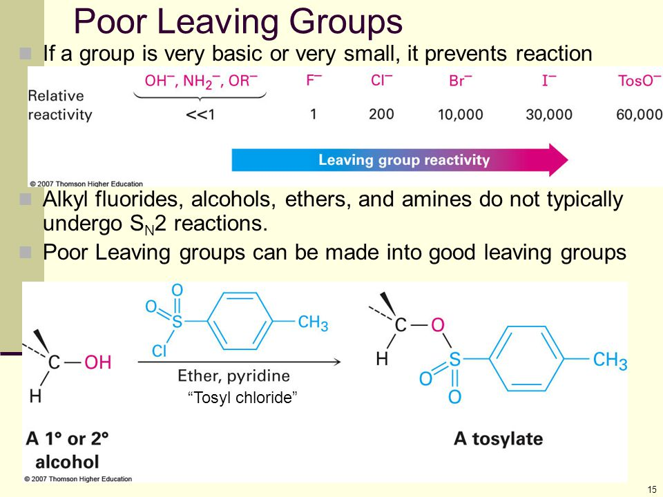 Poor Leaving Groups If a group is very basic or very small, it prevents reaction.