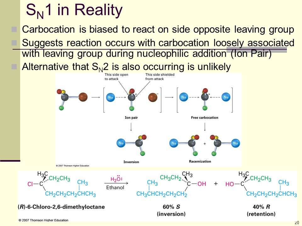 SN1 in Reality Carbocation is biased to react on side opposite leaving group.
