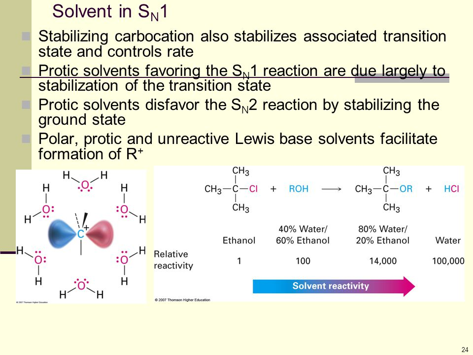 Solvent in SN1 Stabilizing carbocation also stabilizes associated transition state and controls rate.