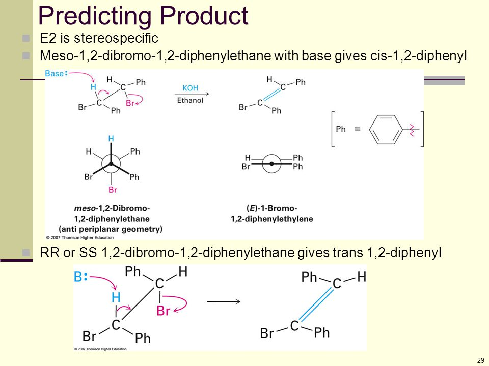 Predicting Product E2 is stereospecific