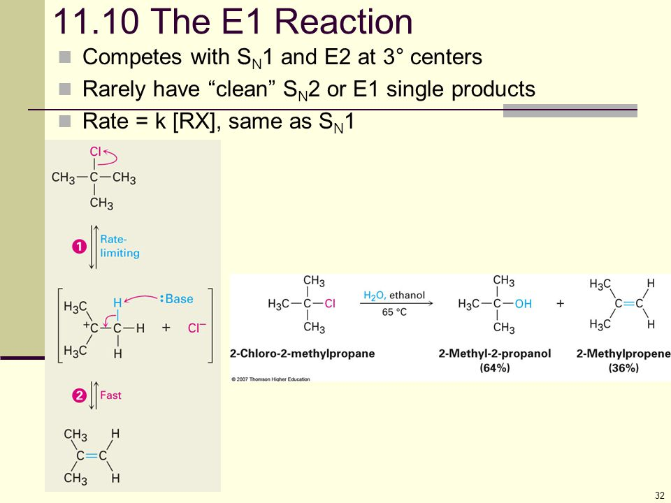 11.10 The E1 Reaction Competes with SN1 and E2 at 3° centers