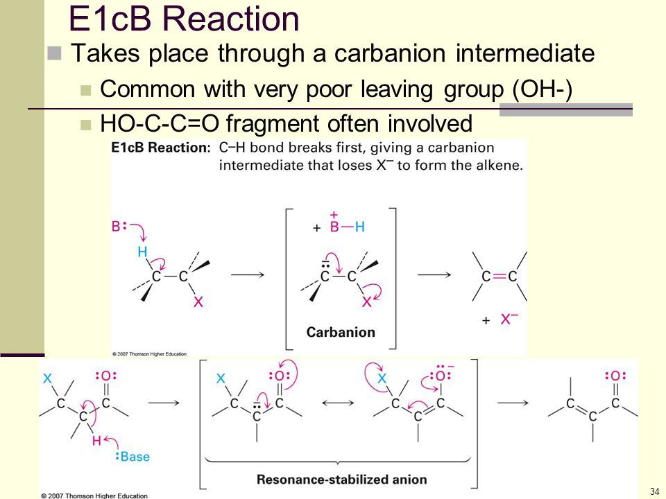 E1cB Reaction Takes place through a carbanion intermediate