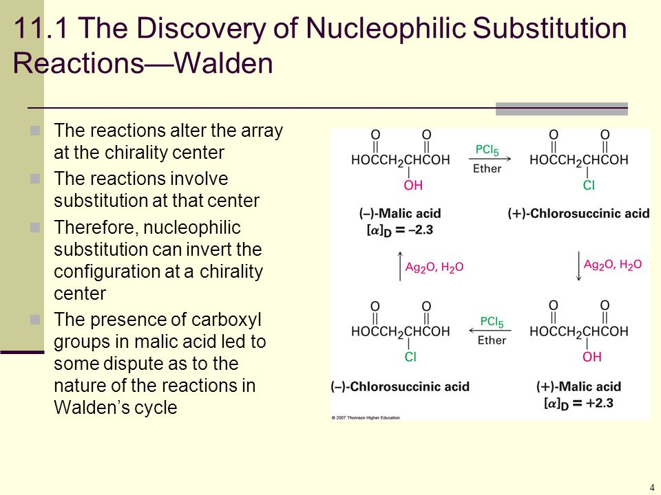 11.1 The Discovery of Nucleophilic Substitution Reactions—Walden
