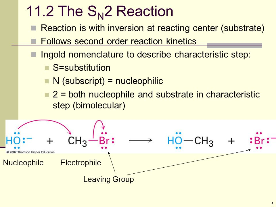 11.2 The SN2 Reaction Reaction is with inversion at reacting center (substrate) Follows second order reaction kinetics.