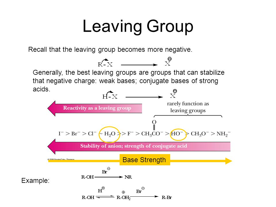 Leaving Group Recall that the leaving group becomes more negative.