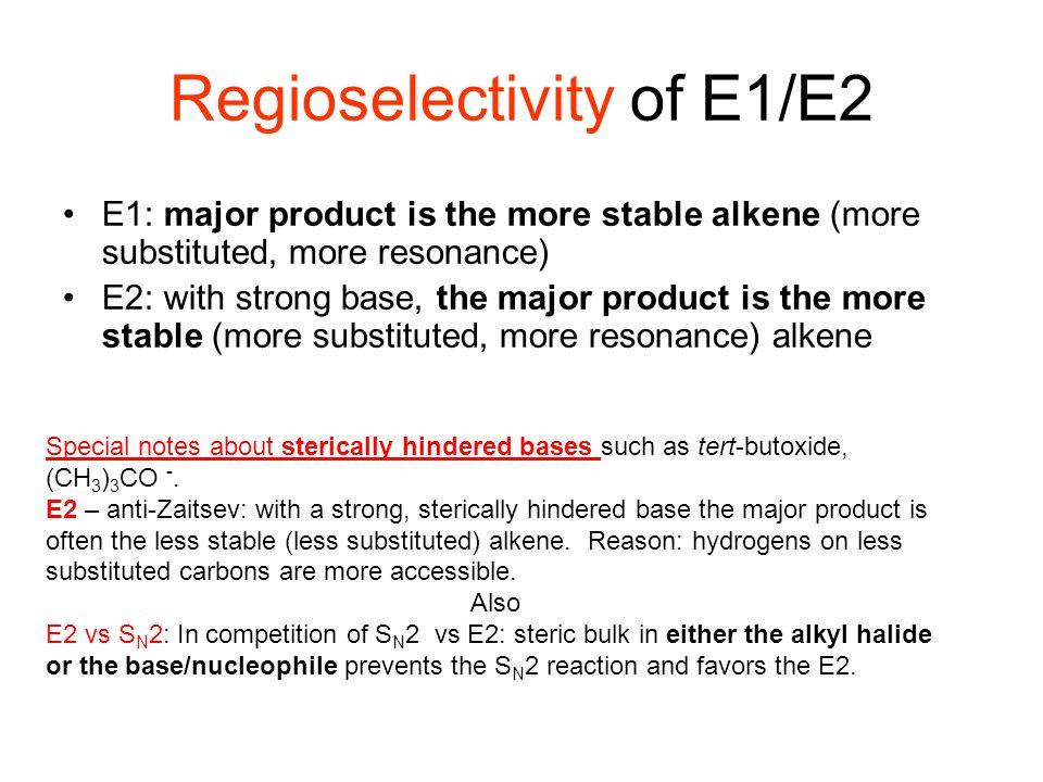 Regioselectivity of E1/E2