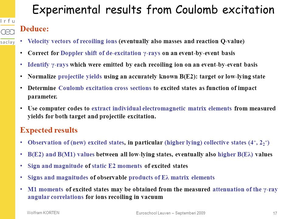 Experimental results from Coulomb excitation