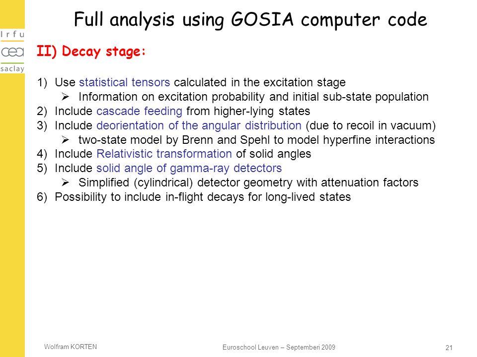 Full analysis using GOSIA computer code