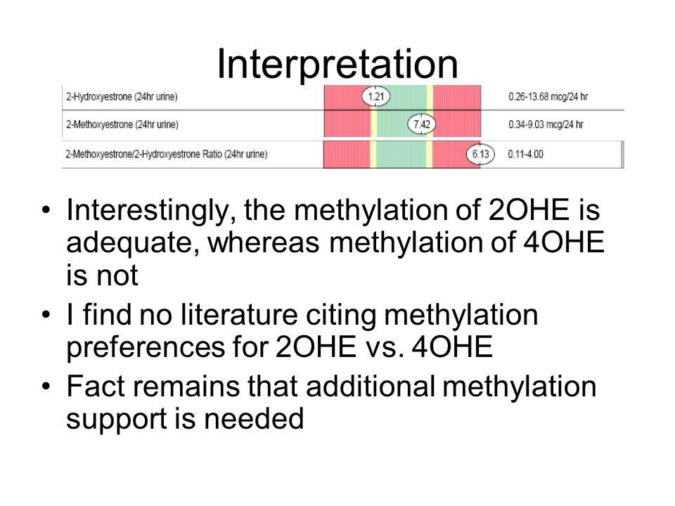 Interpretation Interestingly, the methylation of 2OHE is adequate, whereas methylation of 4OHE is not.