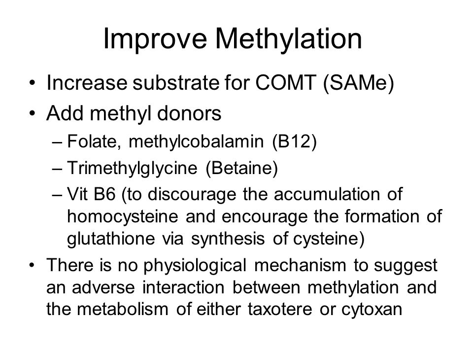 Improve Methylation Increase substrate for COMT (SAMe)
