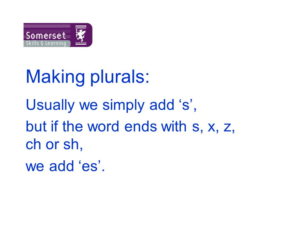 Making plurals: Usually we simply add 's',